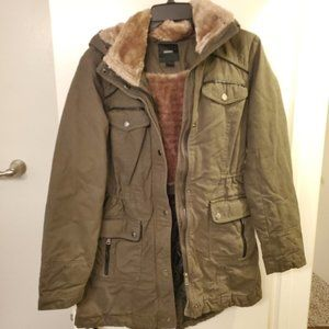 Forever 21 khaki green hooded fur utility jacket
